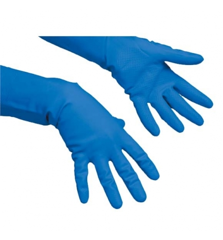 фото: Перчатки резиновые Vileda Professional многоцелевые L, голубые, 100754