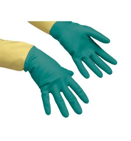 фото: Перчатки резиновые Vileda Professional усиленные L, зеленые/желтые, 120269