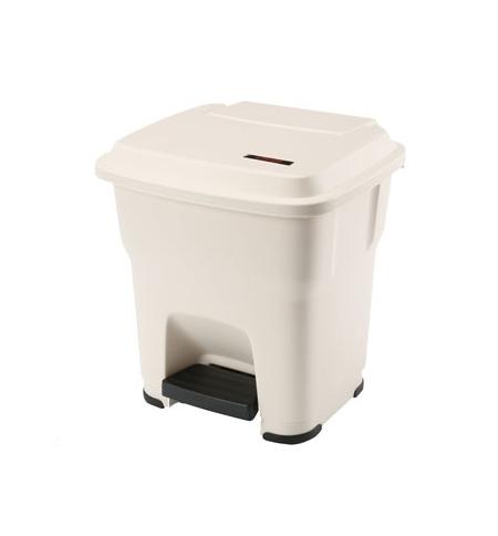 фото: Контейнер для мусора Vileda Professional Гера 35л, с педалью и крышкой, бежевый, 137750