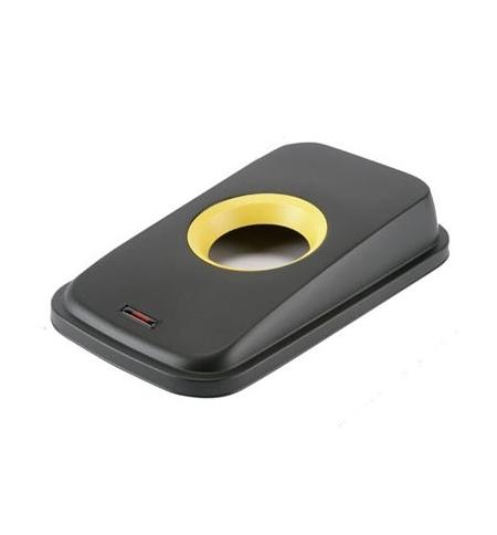 фото: Крышка для контейнера Vileda Professional Гея 55/70л, с отверстием для бутылок, черный/желтый, 13773