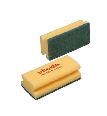 фото: Губка Vileda Professional Виледа 7х15см, желтая, зеленый абразив, 101397