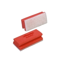 Губка Vileda Professional Виледа 7х15см, мягкая, красная, белый абразив, 102563