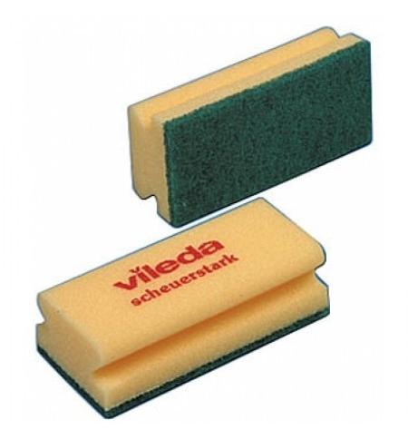 фото: Губка Vileda Professional Виледа 9.5x7см, желтая, зеленый абразив, 125604