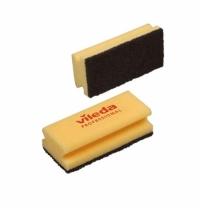 Губка Vileda Professional Виледа 9.5x7см, желтая, черный абразив, 108777