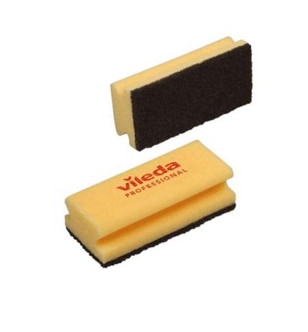 фото: Губка Vileda Professional Виледа 9.5x7см, желтая, черный абразив, 108777