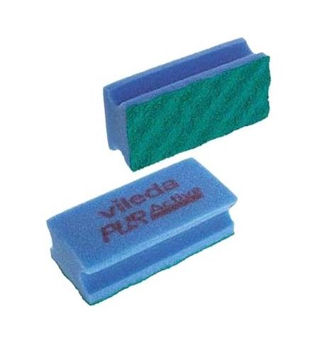 фото: Губка Vileda Professional ПурАктив 6,3х14см, голубая, зеленый абразив, 123118