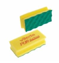 Губка Vileda Professional ПурАктив 6.3х14см, желтая, зеленый абразив, 123117