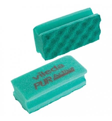 фото: Губка Vileda Professional ПурАктив 6.3х14см, зеленая, зеленый абразив, 123115