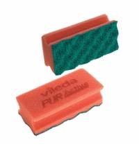 Губка Vileda Professional ПурАктив 6.3х14см, красная, зеленый абразив, 123116