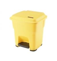 фото: Контейнер для мусора Vileda Professional Гера 35л, с педалью и крышкой, желтый, 137748